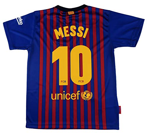 Camiseta 1ª equipación del FC. Barcelona 2018-2019 - Replica Oficial Licenciado - Dorsal 10 Messi - Adulto Talla XXL - Medidas Pecho 63 - Largo Total 77 - Largo Manga 23 cm.