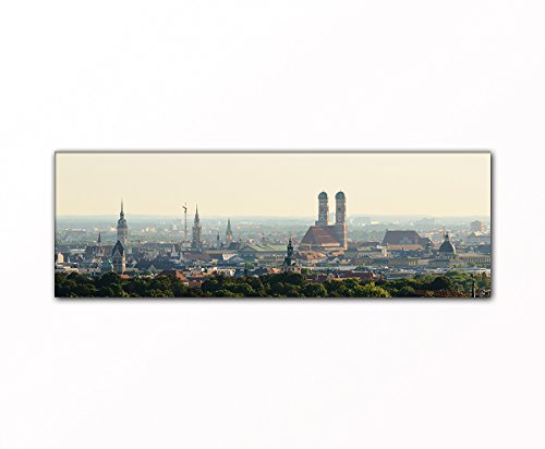 PB Art - Stadtpanorama München als Kunstdruck auf Leinwand und Holzkeilrahmen - Beste Qualität, handgefertigt in Deutschland! (50x150cm)