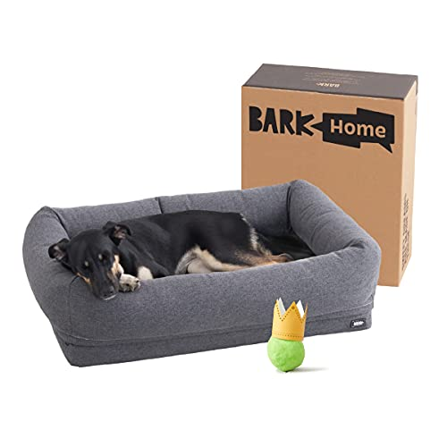Barkbox 2-in-1 Memory Foam Dog Bolster Bed | High Density 3'' Base Orthopedic Joint Relief Crate Lounger or Donut Pillow Bed, Machine Washable + Removable Cover | Waterproof Lining | Medium, Grey