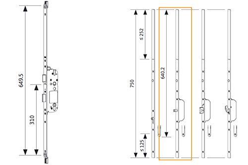 GU Mehrfachverriegelung Secury X - 65/92-10/20 + Verlängerungsgarnitur oben/unten SB 2-20 mm Stulp Schließbolzen Bolzen