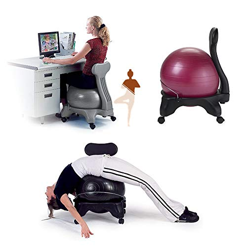 Ballstuhl/Fitness Ball Stuhl/Balance Ballstuhl, mit Rollen Robuster Sitzball, mit Yoga-Ball, für Zuhause und Büro Schreibtisch(Black, Gray, Red, Blue)