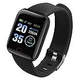 Lefeindgdi Smart Watch, 116 PLUS Schermo a Colori Smart Watch, frequenza cardiaca pressione sanguigna impermeabile Fitness Tracking Watch per sport all'aria aperta Fitness rega