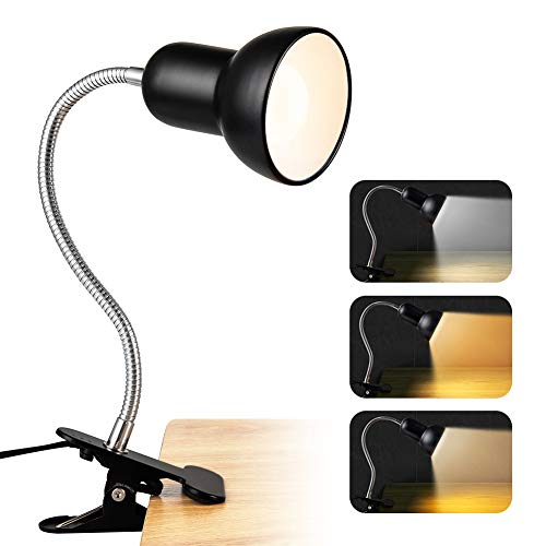Desk lamp 360° Rotation Clip on Lamp 3 Lighting Modes Portable Book Reading Light with Light Bulb,Clamp on Desk Table Bunk Bed Cupboard Home Lighting