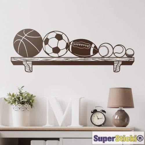 SUPERSTICKI Adhesivo decorativo para pared de 40 x 80 cm, diseño de balón de fútbol, baloncesto, baloncesto, béisbol, decoración A1315 de lámina de alto rendimiento