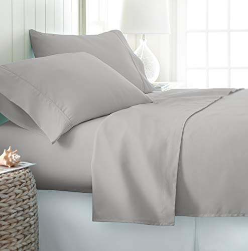 ienjoy Home Hotel Collection Luxury Soft Brushed Bed Sheet Set, Hypoallergenic, Deep Pocket, Queen, Light Gray