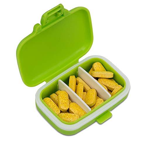 Preisvergleich Produktbild QHGao 3 Fächer Wasserdichter Kunststoff-Pillendose,  Aufbewahrungsbox Für Vitamine,  Behälter Für Den Täglichen Gebrauch Oder Für Die Reise,  Kann in Die Tasche Oder Brieftasche (Grün)