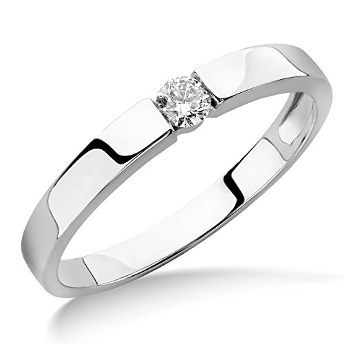 Miore Ring Damen Solitär Verlobungsring  Weißgold 9 Karat / 375 Gold  Diamant Brilliant  0.10 ct