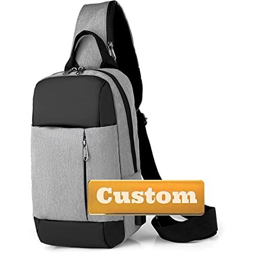 Nome personalizzato Crossbody Chest Pack Piccolo Zaino per gli uomini Escursionismo Camping Backpacking (Color : Grey, Taglia : One size)