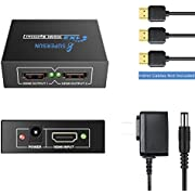 HDMI Splitter 1 in 2 Out, HDMI HDCP Bypass Splitter One Input to Two Outputs HDMI Amplifier 1X2 HDMI Splitter 4k, for Xbox One PS4 PS3 Blu-ray Player Cable Box Satellite TV (1 Input 2 Outputs)