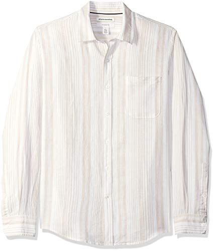 Amazon Essentials - Camisa de lino con manga larga, corte entallado y estampado para hombre