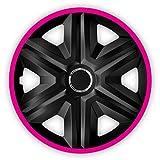 NRM Fast LUX 4X Universal Radkappen Radzierblenden Radblenden Auto KFZ 4 Stück (Schwarz/Pink, 16')