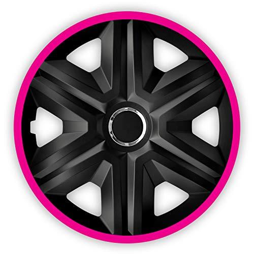 """NRM Fast LUX 4X Universal Radkappen Radzierblenden Radblenden Auto KFZ 4 Stück (Schwarz/Pink, 14\"""")"""