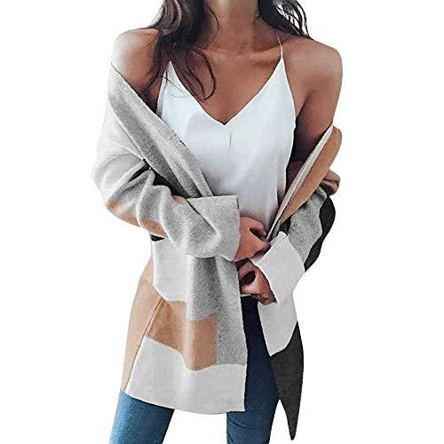 Cardigan Femme Manteau, Manadlian Hiver Pull Cousu Couleur Mode Manteau Mince Veste Longue