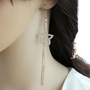 YABINA Long Tassel Luxury Crystal Dangling Earrings Jewelry Accessories (Silver)