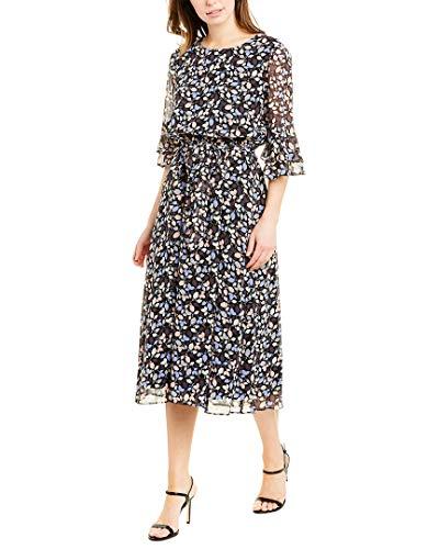 Anne Klein Women's Elastic Waist Bell Sleeve Dress, Anne Black/Eton Blue Combo, S
