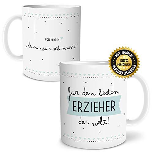 OWLBOOK Bester Erzieher Große Kaffee-Tasse mit Spruch im Geschenkkarton Personalisiert mit Namen Geschenke Geschenkidee für Erzieher-in Abschied Abschluß