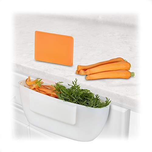 Relaxdays Auffangschale für Küchenabfälle, Abfallbehälter mit Spachtel, Abfallsammler 2Liter, HxBxT: 10x27,5x16 cm, weiß