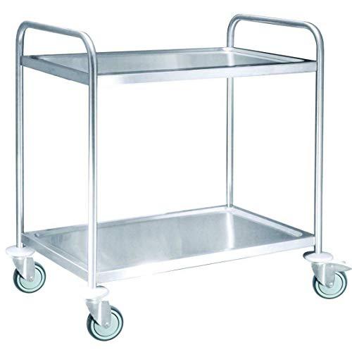 Tablecraft Servierwagen, Rollwagen, Küchenwagen, 2 Ablageflächen, 82 x 55 cm, 2-Etagen max. 100 kg Belastbarkeit, 4 fixierbare, leichtgängige Rollen, Edelstahl, Silber