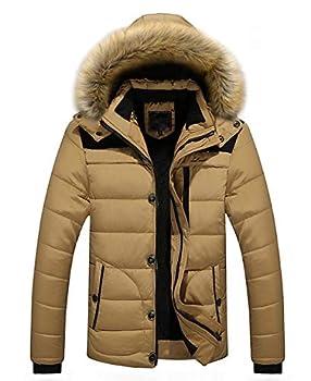 chouyatou Men s Winter Windproof Fur Hood Full Zip Alternative Down Parka Jacket  Large Khaki