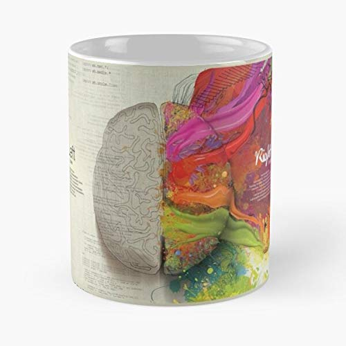 Right Left Sides Brain Tan Colors Thoughtful Coin - Best 11 Ounce Ceramic Mug - Classic Mug for Coffee, Tea, Chocolate or Latte
