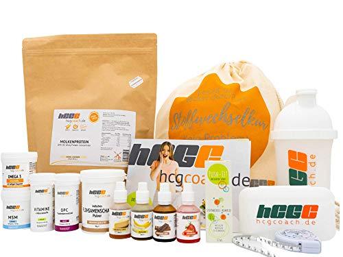 hCGC® Das Original Stoffwechselkur Komplettpaket | 21 Tage hCG Diät + 9 Tage geschenkt | Mit Push-IT! Aktivator Spray & Weidemilchprotein | 4 x Aromatropfen (Erdbeere, Banane, Schokolade, Käsekuchen)