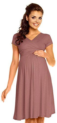 Zeta Ville - Damen - Umstandskleid - Kurzarm - Sommerkleid für Schwangere - 108c (Cappuccino, EU 44, 2XL)