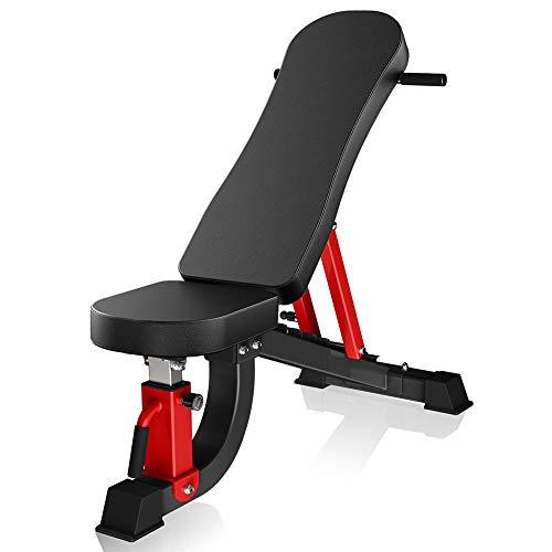 Kommerzielle Fitness Verstellbare Hantelbank, Hanteln Bank, Steigung/Gefälle/FID-Bankdrücken, Bauchmuskeln Brett, Sit Up Bench für Home Gym,Schwarz