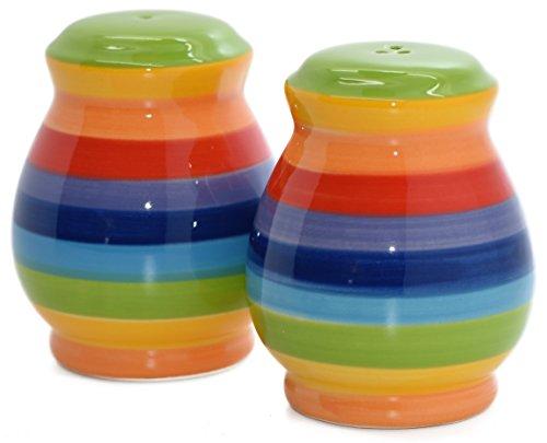 Windhorse Salz- und Pfefferstreuer-Set regenbogenfarben, gestreifte Keramik,handbemalt, 7 cm