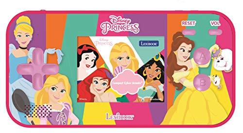 Lexibook- Disney Princess Cendrillon Ariel Raiponce Console Portable Compact Cyber Arcade, 150 Jeux, écran LCD, à Piles, Rose, JL2367DP