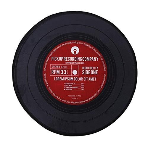 Tapis Tapis Disques Vinyle Tapis Rond Tapis Rond Vintage Tapis Rond Tapis pour Chambre À Coucher Bureau Chaise Chaise Table Basse Enfants Antidérapant (Color : Red, Size : Diameter-80cm)
