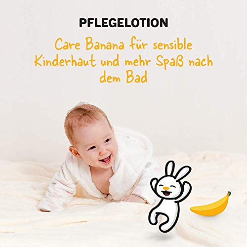 sanosan Pflegelotion Banane für Kinder - Lotion mit Bio Olivenöl & Milchprotein im 2er Pack (2x 200 ml) - Hautpflege, Bodylotion, Körperlotion, Körpermilch, Hautschutzlotion