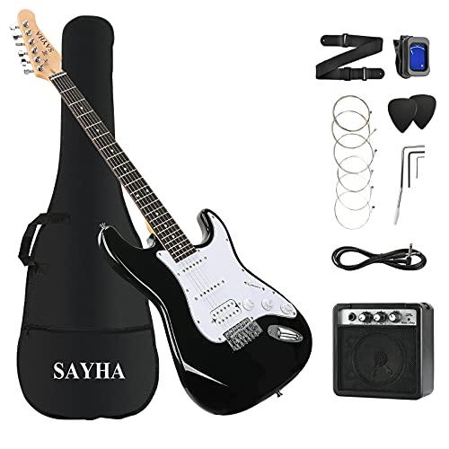 SAYHA Electric Guitar, 39 Inch Solid Full-size Electric Guitar HSS Pickups Starter Kit Includes Amplifier, Bag, Digital Tuner, Strap, String, Cable, Picks (Black)