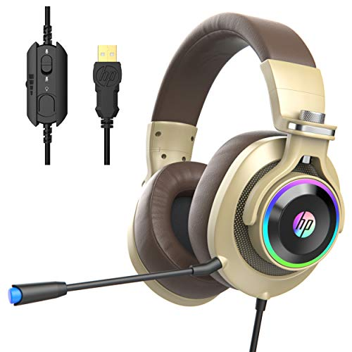 HP USB PC Gaming Headset with Microphone. 7.1 Surround Sound, RGB LED Lighting, Noise Isolating Over Ear Game Headphones with Detachable Mic for PC, Mac, PS4, Laptop - Gold