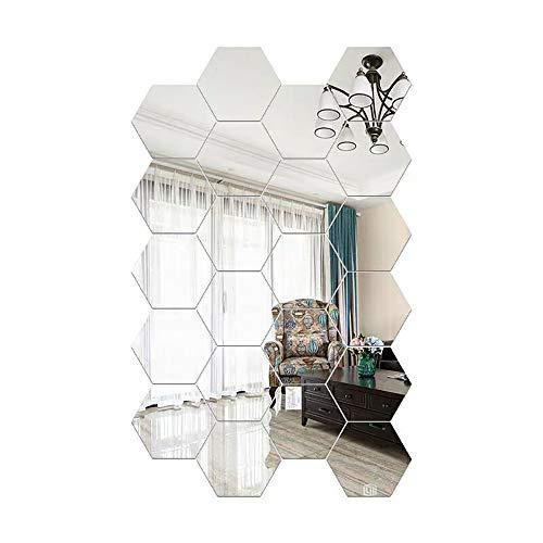 TonGXU 24 Stück Sechseckiger Spiegel, Wandaufkleber, Sechseckige Wanddekoration, Spiegel, abnehmbar, Acryl, Spiegel, Deko, für Haus, Schlafzimmer, Wohnzimmer