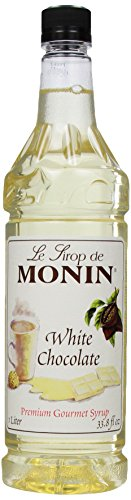 Monin Flavored Syrup, White Chocolate, 33.8-Ounce Plastic Bottles (Pack of 4)