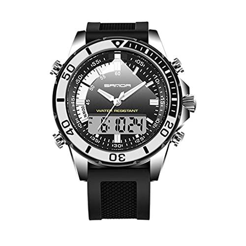 Thomm Reloj Deportivo para Hombres Doble Double Pantalla Moda Moda 30M Relojes analógicos a Prueba de Agua para Hombres Reloj táctico Muñeca Reloj de Cuarzo (Color : E)