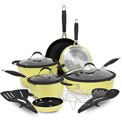 Paula Deen Family 14-Piece Ceramic Non-Stick Cookware Set, 100% PFOA-Free and Induction Ready, Features Stay-Cool Handles and Dual Pour Spouts, Includes Steam Rack and Kitchen Tools (Butter Yellow)