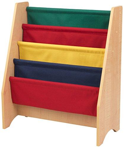 KidKraft 14226 Libreria in Legno e Tessuto, Mobili per Camera da Letto e Sala Giochi per Bambini con 4 Tasche Portaoggetti - Colori Primari