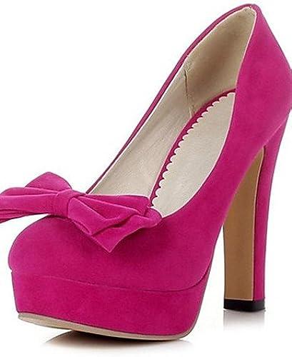 Ggx femme Chaussures en velours les quatre saisons talons plate-forme Basic Pompe à talons Bureau & carrière décontractée Chunky Talon