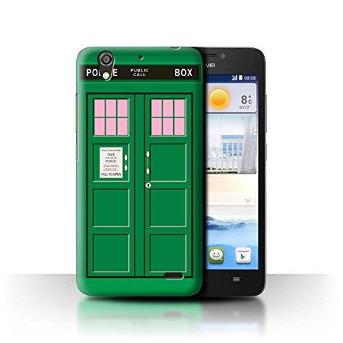 Hülle Für Huawei Ascend G630 Tardis Handyzelle Kunst Grün Design Transparent Ultra Dünn Klar Hart Schutz Handyhülle Hülle