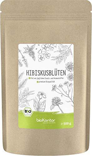 Bio Hibiskusblüten ganz und getrocknet 500g - Premium Qualität - 100% natürlich aus biologischem Anbau - bioKontor