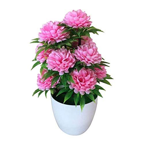 Funight 1Pc Chrysanthème Artificiel Bonsaï, Vives Fleurs Colorées Et De Haute Qualité Paysage De Plantes en Pot pour La Maison De Mariage Bureau Arrangements Floraux Décoration De Table Rose Clair
