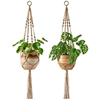 Mkono マクラメ麻縄 植物プランターハンガー 4本足 屋内屋外 植物ハンギングプランター インテリア 2pcs