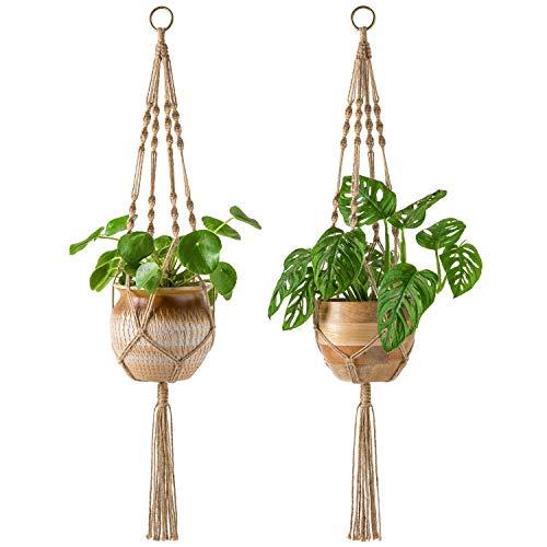 Mkono 2 Pack Macrame Plant Hangers Indoor Hanging Planter Basket Decorative Flower Pot Holder Jute Rope for Indoor Outdoor Home Decor 4 Legs 40 Inch