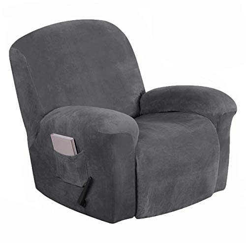 Recliner Slipcovers 1 Piece Stretch Velvet Plush Recliner Cover Sofa Cover Furniture Protector Leather Recliner Elastic Bottom, Recliner Chair Cover with Side Pocket