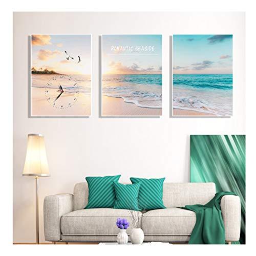 WFL-Reloj wandklok, decoratief, stil, Tiktac, wand voor woonkamer, slaapkamer, kantoor, slaapkamer, nano ijs, glazen afdekking, 40 x 60 cm (3 stuks/set)
