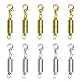 CrazyPiercing Magnetic Jewelry Clasp, 10pcs Silver Color Tone/Gold Color Tone Magnetic Lobster Clasp, Magnetic Clasps Converter for Necklace Bracelet Anklet Chains (Mix Color)