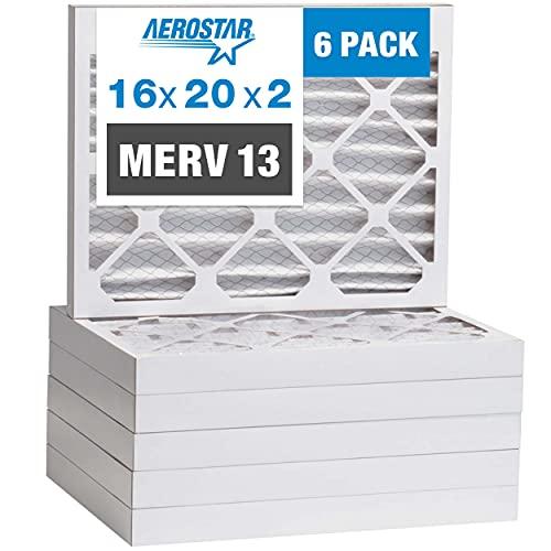 Aerostar 16x20x2 MERV 13 Pleated Air Filter, AC Furnace Air Filter, 6-Pack (Actual Size: 15 1/2' x 19 1/2' x 1 3/4')