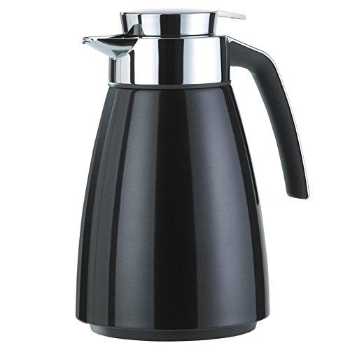 Emsa 513810 Isolierkanne (Edelstahl 1 Liter, Aroma Diamond, Quick Tipp Verschluss, Bell) schwarz