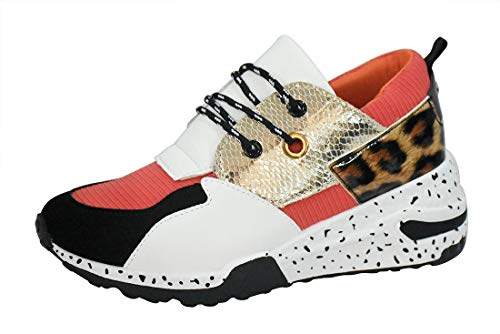 LUCKY STEP Women's Climbing Hiking Retro Jogger Cliff Sneakers Running Sport Trainer Shoes (8 B(M) US, Orange Leopard)